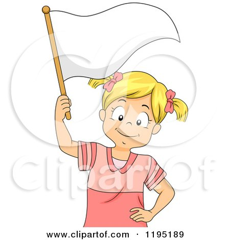 Cartoon of a Happy Blond Girl Waving a White Flag - Royalty Free Vector Clipart by BNP Design Studio