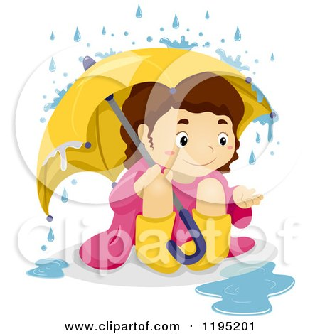 Cartoon of a Happy Brunette Girl Playing in the Rain - Royalty Free Vector Clipart by BNP Design Studio