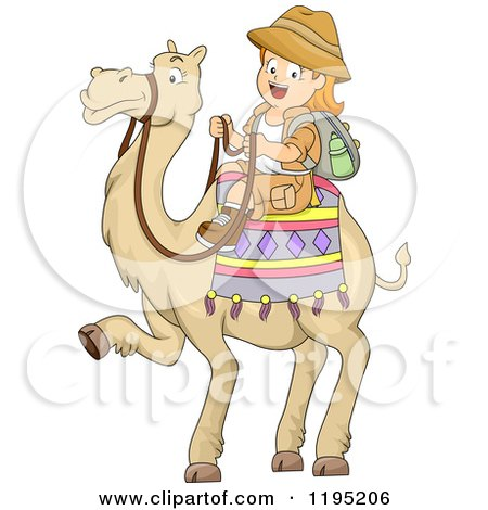 Cartoon of a Happy Red Haired Girl Riding a Camel - Royalty Free Vector Clipart by BNP Design Studio