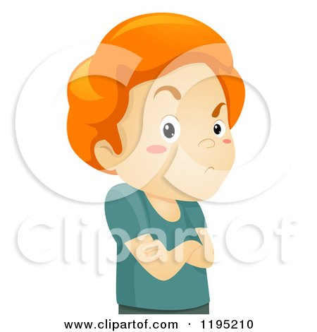 Cartoon of a Stubborn Red Haired Boy with Folded Arms - Royalty Free Vector Clipart by BNP Design Studio