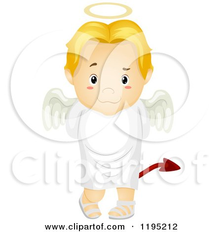 Cartoon of a Deceitful Blond Angel Boy with a Devil Tail - Royalty Free Vector Clipart by BNP Design Studio