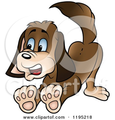 Cartoon of a Scared Puppy Halting - Royalty Free Vector Clipart by dero
