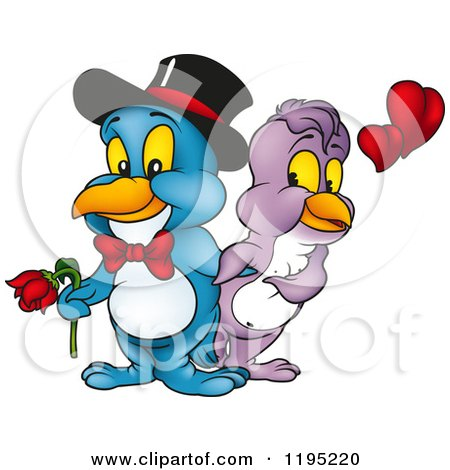 Love Bird Couple with Hearts and a Flower Posters, Art Prints