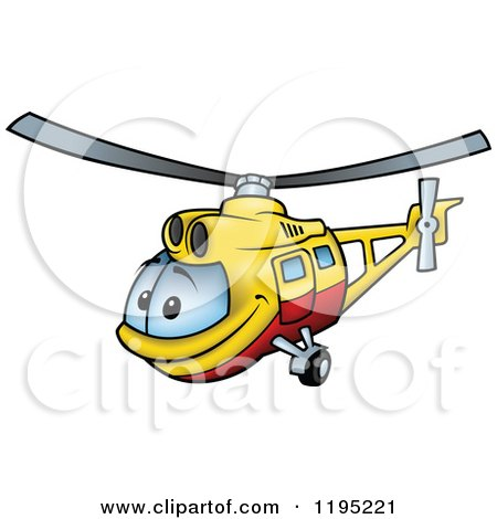 Cartoon of a Happy Yellow and Red Helicopter - Royalty Free Vector Clipart by dero