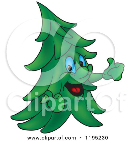 Cartoon of a Happy Evergreen Tree Holding Two Thumbs up - Royalty Free Vector Clipart by dero