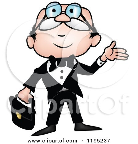 Cartoon of a Businessman Looking up - Royalty Free Vector Clipart by dero