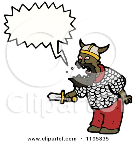 Cartoon of a Black Viking - Royalty Free Vector Illustration by lineartestpilot