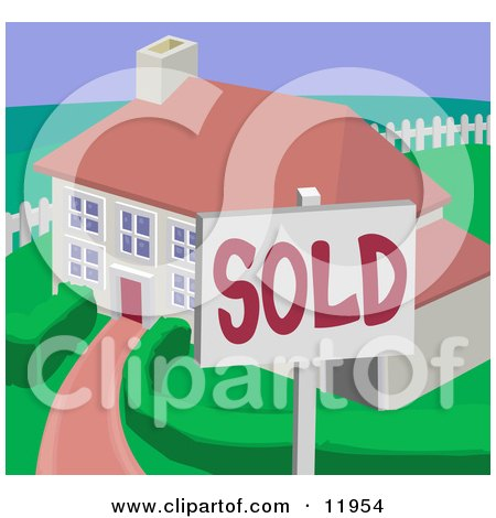 Sold Residential Home Clipart Illustration by AtStockIllustration