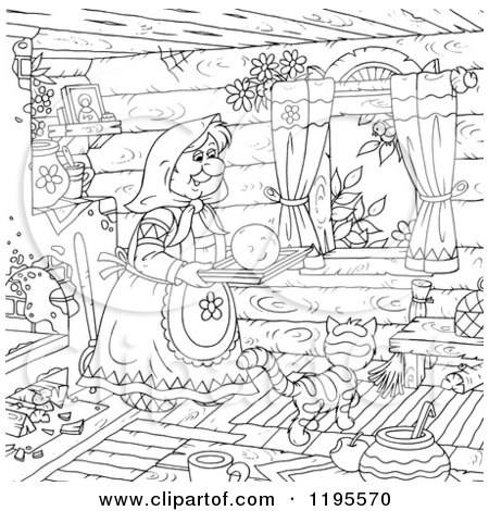 Cartoon of an Outlined Woman Carrying a Smiley on a Tray over a Cat in a Cabin - Royalty Free Clipart by Alex Bannykh