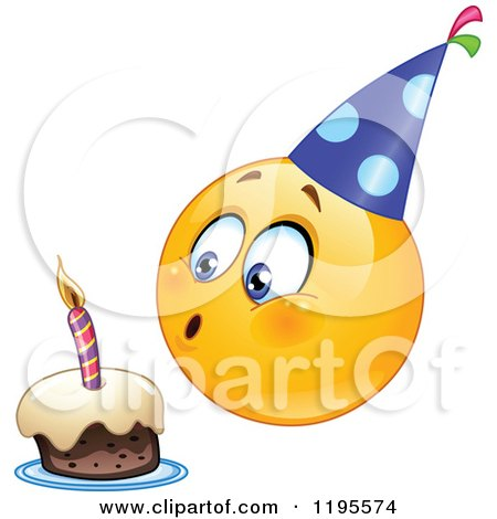 Cartoon of a Birthday Emoticon Smiley Blowing out a Candle on a Cake - Royalty Free Vector Clipart by yayayoyo