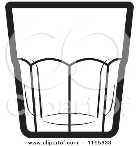 Clipart of a Black and White Rock Glass Royalty Free