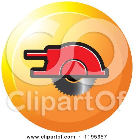 Clipart of a Round Wood Cutter Tool Icon - Royalty Free Vector Illustration by Lal Perera