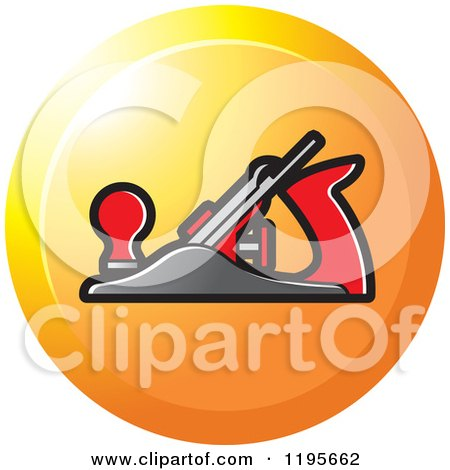 Clipart of a Round Woodworking Plane Tool Icon - Royalty Free Vector Illustration by Lal Perera