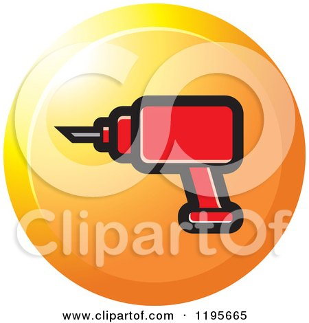 Clipart of a Round Electric Drill Tool Icon - Royalty Free Vector Illustration by Lal Perera