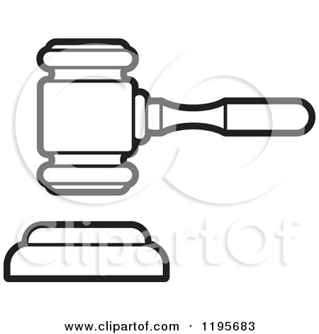 Clipart of a Black and White Gavel - Royalty Free Vector ...