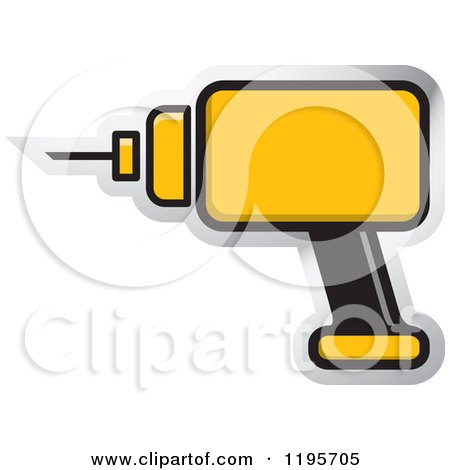 Clipart of a Yellow Electric Drill Tool Icon - Royalty Free Vector Illustration by Lal Perera