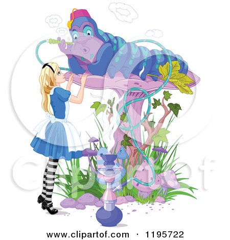 Cartoon of Alice in Wonderland, Looking up at the Caterpillar Smoking on a Mushroom - Royalty Free Vector Clipart by Pushkin
