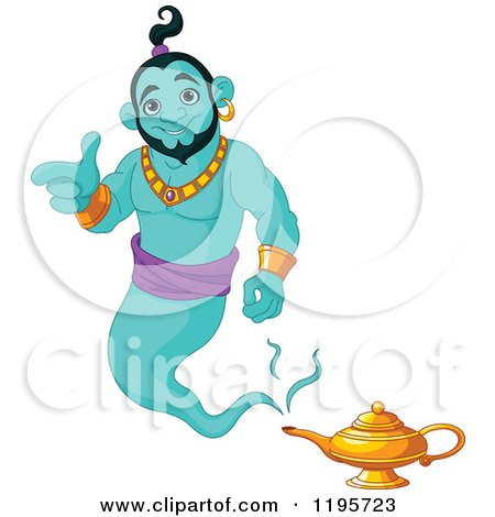 Cartoon of a Happy Green Genie Pointing and Floating over His Lamp - Royalty Free Vector Clipart by Pushkin