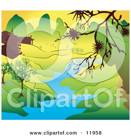 Japanese Landscape With Mountains Buildings And A River Clipart Illustration