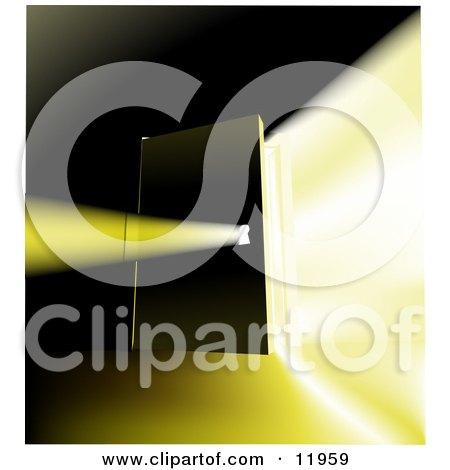 Bright Light Shining Through an Open Door and Key Hole Clipart Illustration by AtStockIllustration