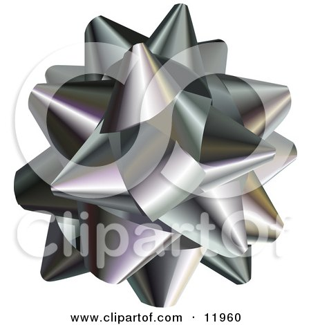 Silver Gift Bow Clipart Illustration by AtStockIllustration