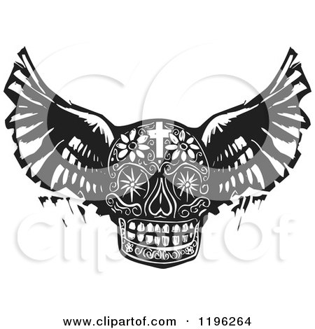 Winged Day of the Dead Skull Black and White Woodcut Posters, Art Prints