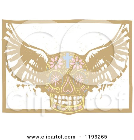 Clipart of a Winged Day of the Dead Skull Woodcut - Royalty Free Vector Illustration by xunantunich