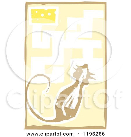 Clipart of a Woodcut Mouse in a Maze with Cheese As the Reward - Royalty Free Vector Illustration by xunantunich