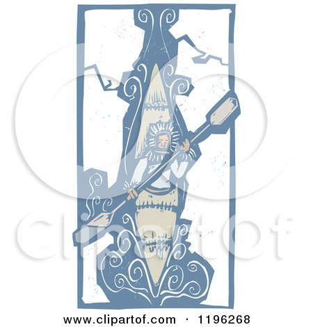 Clipart of a Woodcut Eskimo Kayaking Through Ice - Royalty Free Vector Illustration by xunantunich