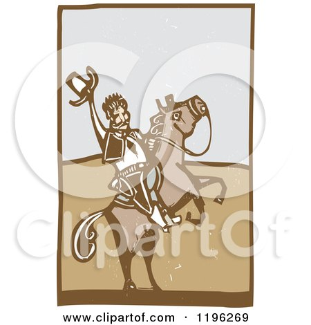 Woodcut Cowboy Holding up His Hat on a Rearing Horse Posters, Art Prints