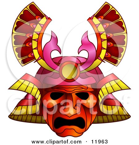 Royalty-free clipart picture of an asian Samurai warrior mask.
