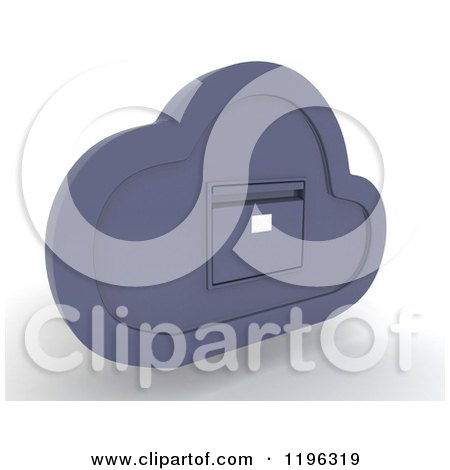 Clipart of a 3d Cloud Computing Shut File Cabinet - Royalty Free CGI Illustration by KJ Pargeter