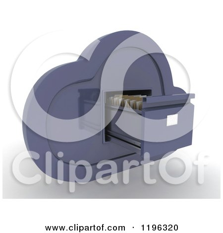 Clipart of a 3d Cloud Computing Open Filing Cabinet - Royalty Free CGI Illustration by KJ Pargeter