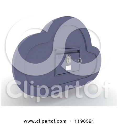 Clipart of a 3d Cloud Computing Locked File Cabinet with a Key - Royalty Free CGI Illustration by KJ Pargeter