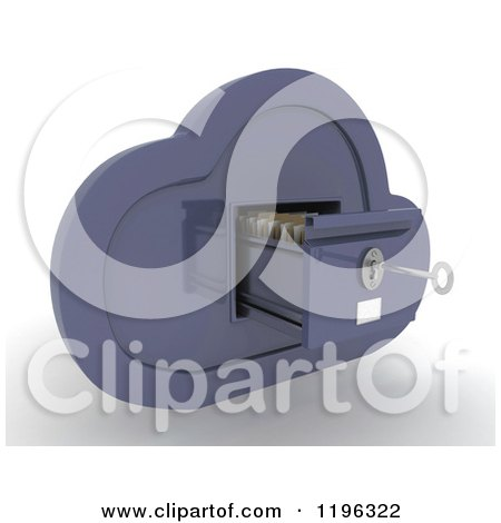 Clipart of a 3d Cloud Computing Open File Cabinet with a Key - Royalty Free CGI Illustration by KJ Pargeter