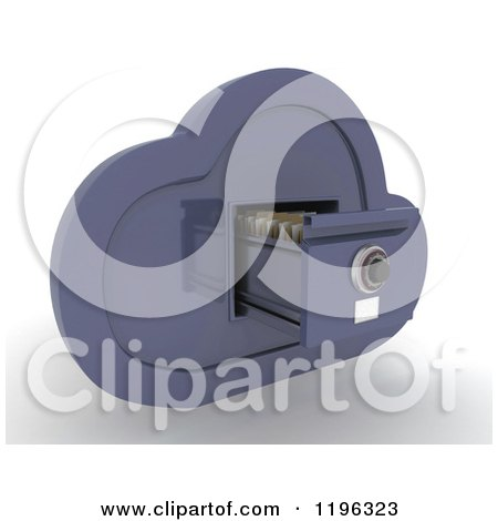 Clipart of a 3d Cloud Computing Open File Cabinet - Royalty Free CGI Illustration by KJ Pargeter