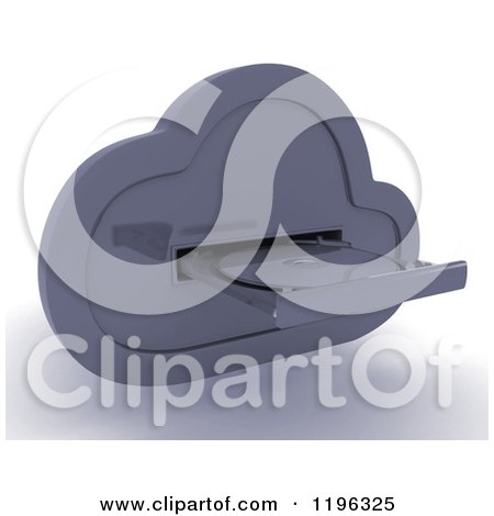 Clipart of a 3d Computing Cloud Drive with a Disk - Royalty Free CGI Illustration by KJ Pargeter