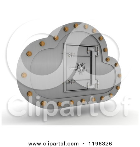 Clipart of a 3d Silver Computing Cloud with a Safe Vault - Royalty Free CGI Illustration by KJ Pargeter