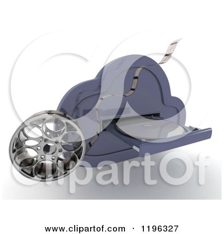 Clipart of a 3d Computing Cloud Drive with a Dvd and Film Reel - Royalty Free CGI Illustration by KJ Pargeter