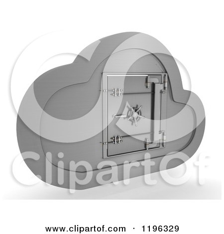 3d Silver Computing Cloud with a Safe Posters, Art Prints