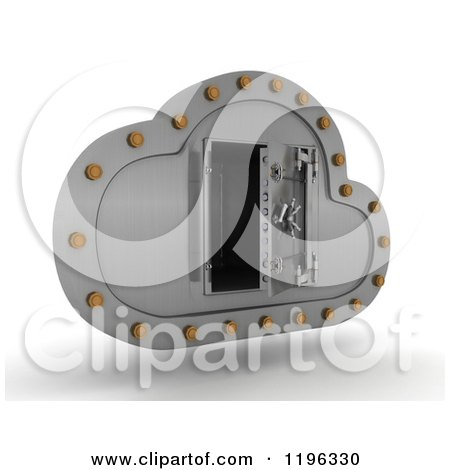 Clipart of a 3d Silver Computing Cloud with an Open Vault Safe - Royalty Free CGI Illustration by KJ Pargeter