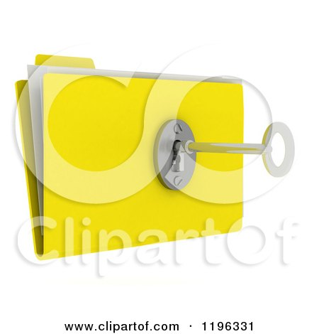 Clipart of a 3d Secure File Folder with a Security Key and Lock - Royalty Free CGI Illustration by KJ Pargeter