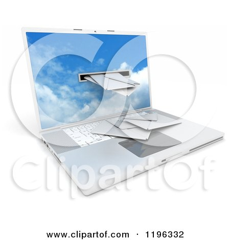 Clipart of a 3d Laptop Computer with Mail Coming Through a Slot - Royalty Free CGI Illustration by KJ Pargeter