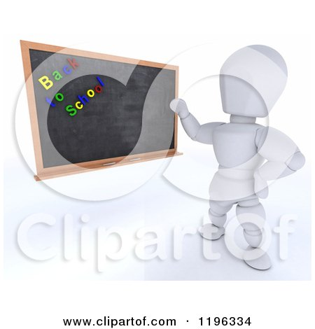 Clipart of a 3d White Character Teacher with Back to School Magnets on a Black Board - Royalty Free CGI Illustration by KJ Pargeter