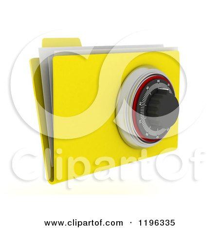 Clipart of a 3d Secure File Folder with a Security Dial Lock - Royalty Free CGI Illustration by KJ Pargeter