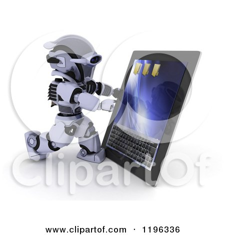 Clipart of a 3d Robot Using a Tablet Computer - Royalty Free CGI Illustration by KJ Pargeter