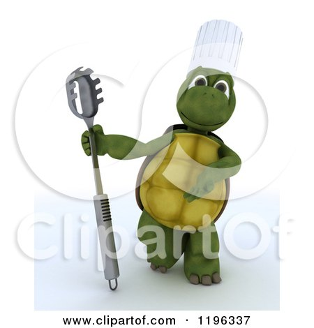 Clipart of a 3d Tortoise Chef Presenting a Pasta Spoon - Royalty Free CGI Illustration by KJ Pargeter
