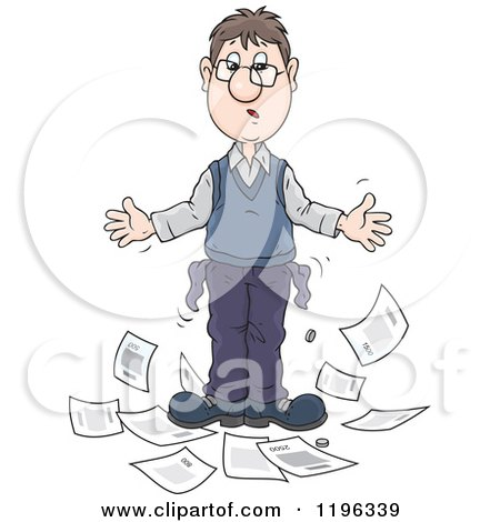 Cartoon of a Broke Caucasian Man with out Turned Pockets and Household Bills - Royalty Free Vector Clipart by Alex Bannykh