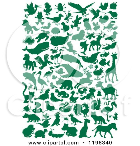 Cartoon of Green Silhouetted Animals and Bugs - Royalty Free Vector Clipart by Alex Bannykh