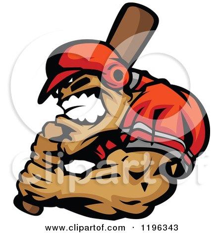 Clipart Of Am Aggressive Strong Baseball Player Holding A Bat Royalty Free Vector Illustration